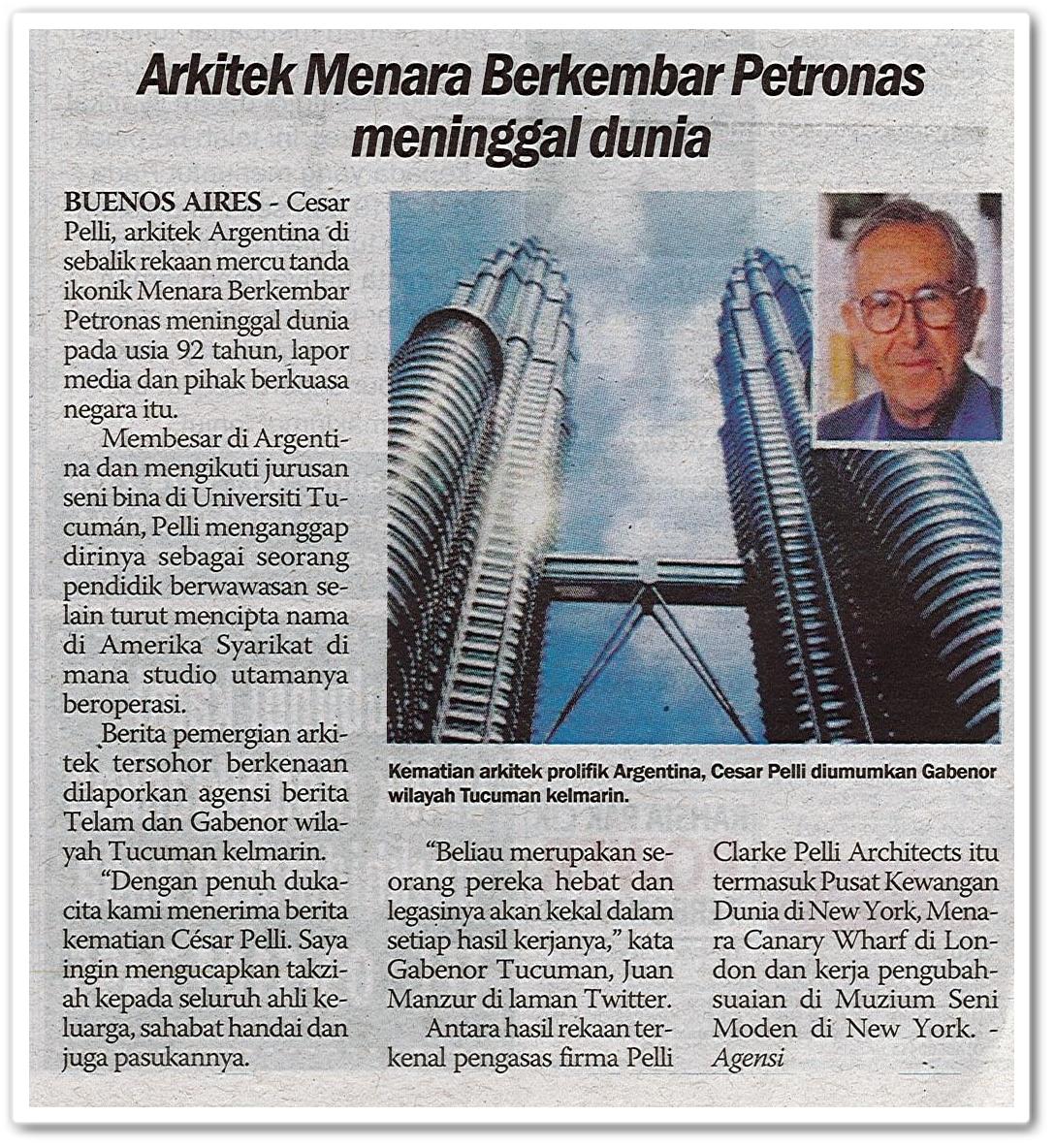 Arkitek Menara Berkembar Petronas meninggal dunia - Keratan akhbar Sinar Harian 21 Julai 2019