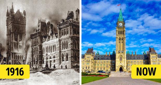 """Ngày 3/2/1916 là một ngày đen tối đối với lịch sử Canada. Tòa nhà Quốc hội (Parliament Buildings) trên Parliament Hill, ở Ottawa (Ontario, Canada) đột nhiên bốc cháy dữ dội và cả đội cứu hỏa đã phải vật lộn để dập tắt đám cháy trong tiết trời mùa đông cực kỳ khắc nghiệt. Sau đám cháy lớn, khối trung tâm của công trình theo phong cách gothic này đã bị hư hại nặng nề và chỉ có khu thư viện mới được cứu. Một vài tháng sau, tòa nhà được sửa chữa lại và chính thức hoàn thành vào 11 năm sau đó. Đến nay, tòa nhà Quốc hội vẫn là một điểm đến ưa thích của du khách khi đến với """"xứ sở lá phong"""" Canada."""