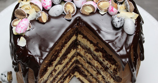6-LAYER SNICKERS BROWNIE EASTER CAKE