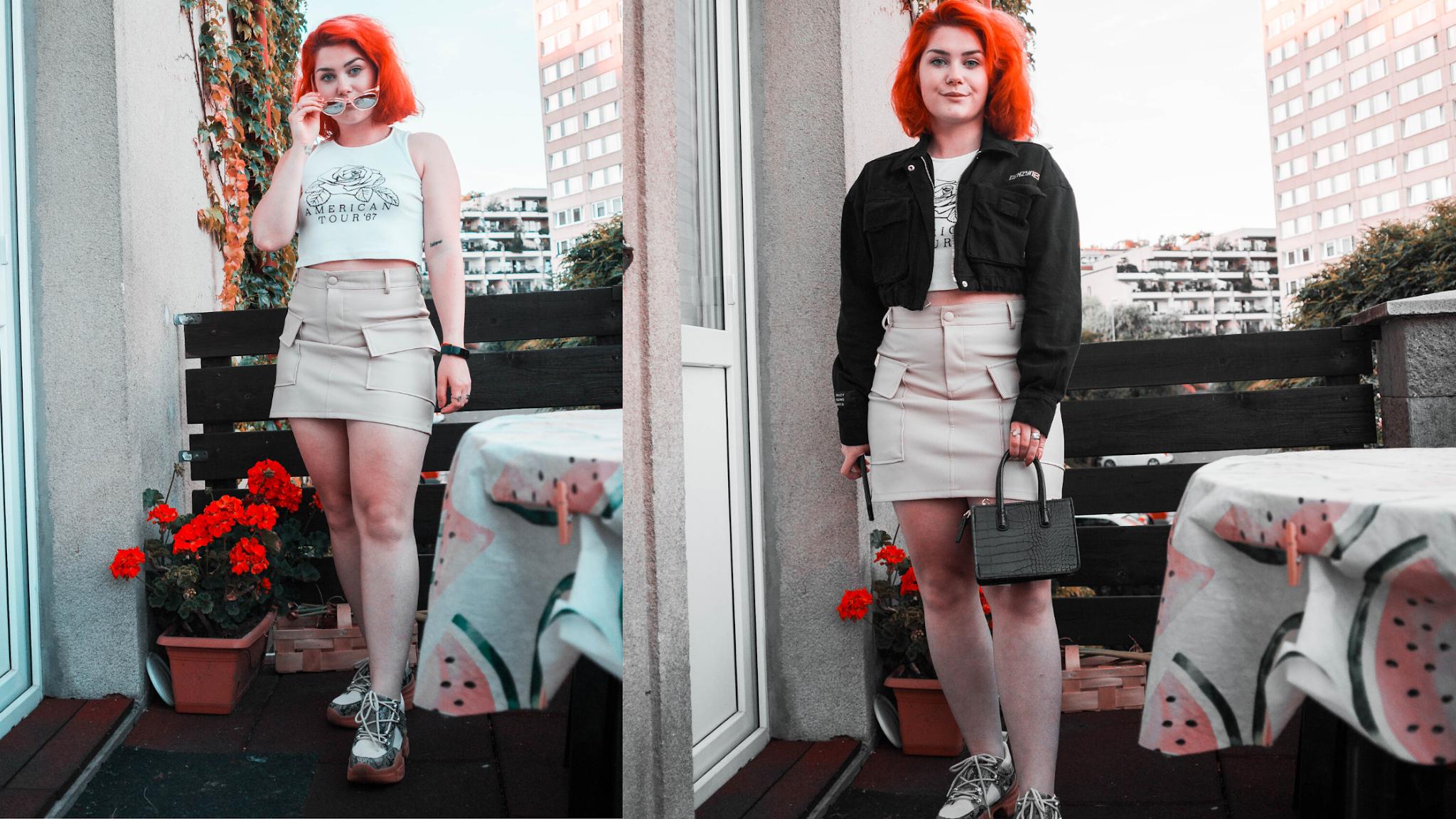 Béžová koženková sukně Sinsay a bílý croptop a černá crop bunda