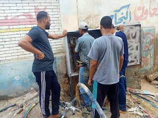 تغيير وصيانة صندوق التغذية الكهربائية بكفر أحمد عبده القديم بحى الأربعين فى السويس