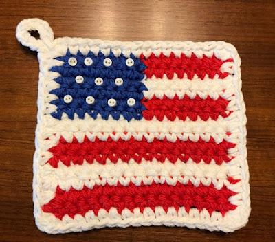 The Wild Rose Journal: Flag Potholder Free Crochet Pattern
