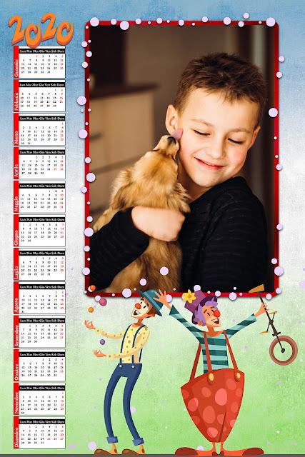 Calendario bambini 2020 spazio foto orizzontale