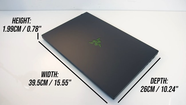The dimensions of the Razer Blade Pro 17 gaming laptop were measured and found 15.5inch width, 10.24inch depth, and 0.78inch height. So, it's just 0.02inch thin than the Lenovo Legion 7i gaming laptop.