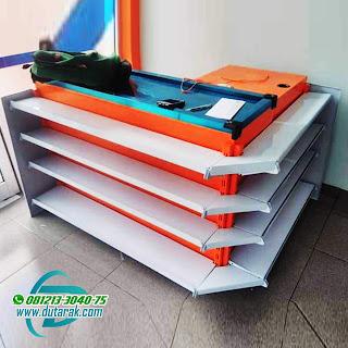 meja kasir orange putih murah makassar