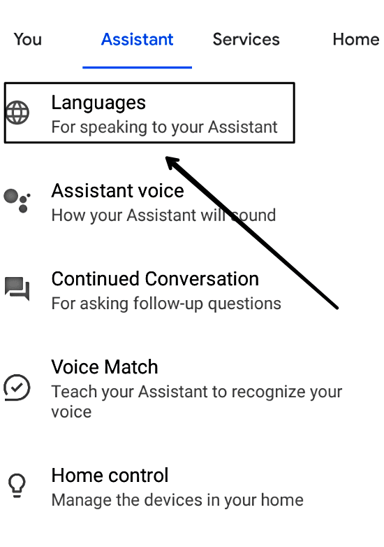 Choose Languages for Speaking to your Assistant