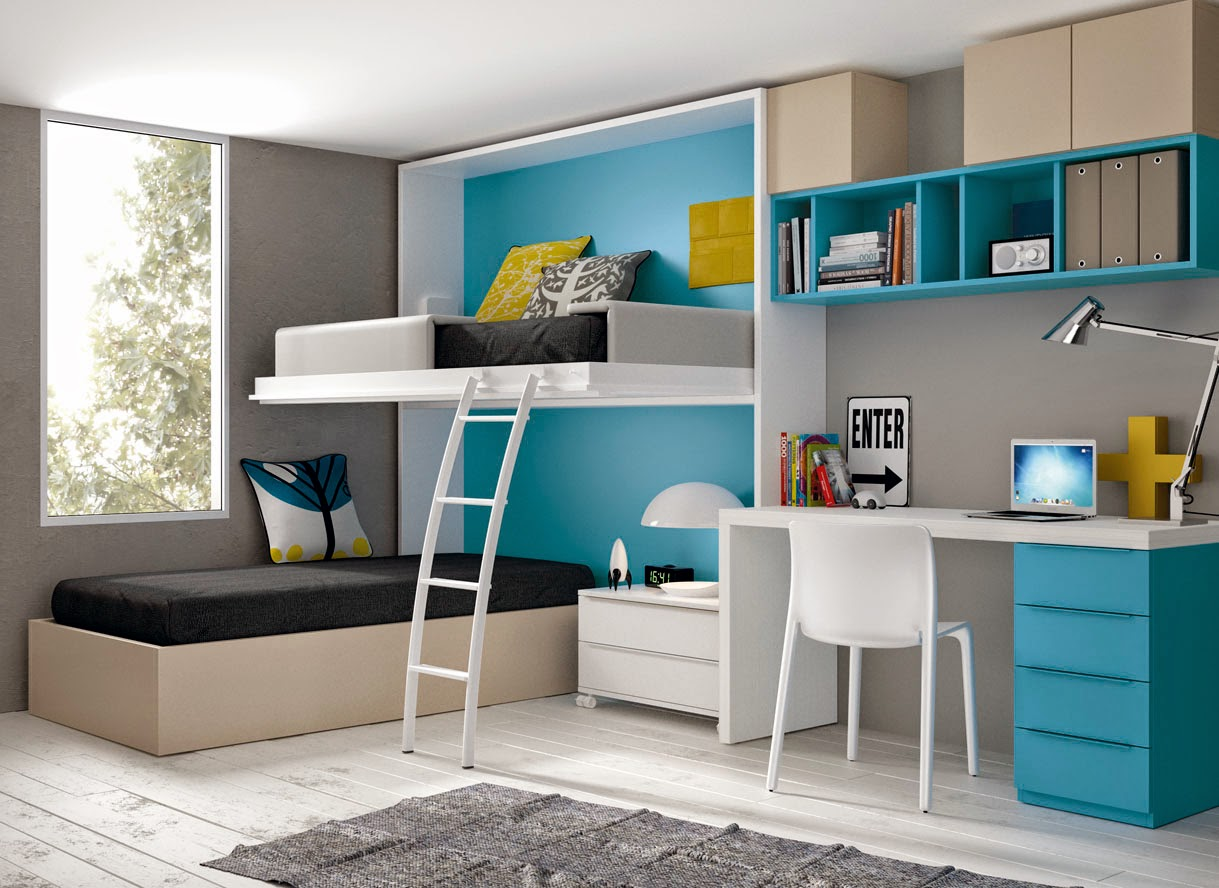 esta otra distribucin nos proporciona ms espacio visual al tener una cama abatible alta y debajo una cama con canap donde guardar