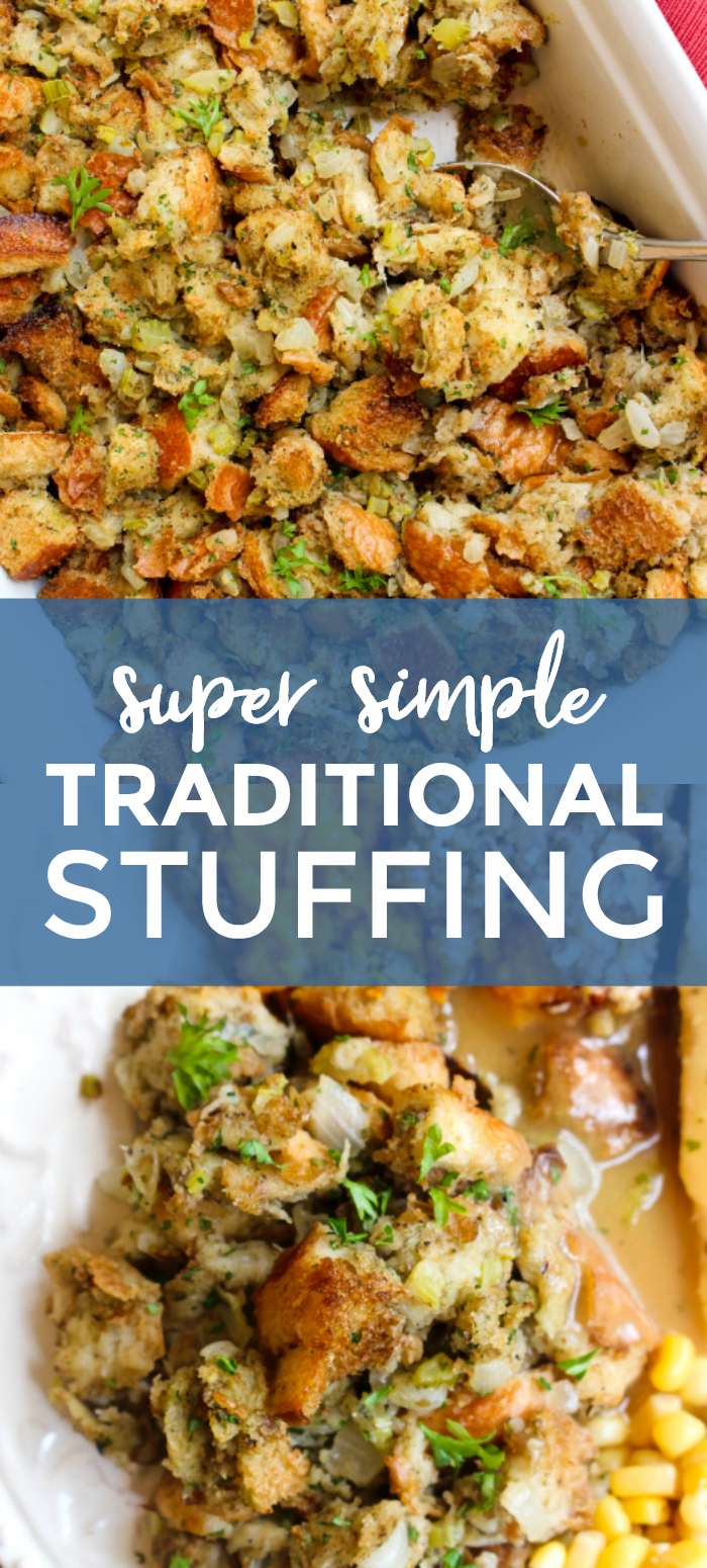 This Traditional Stuffing recipe has the classic flavors of the holidays that you know and love!  Made with fresh bread cubes, onions, celery, and fresh herbs, it's an easy to make recipe that you'll want to make every year! #stuffing #thanksgiving #sidedish