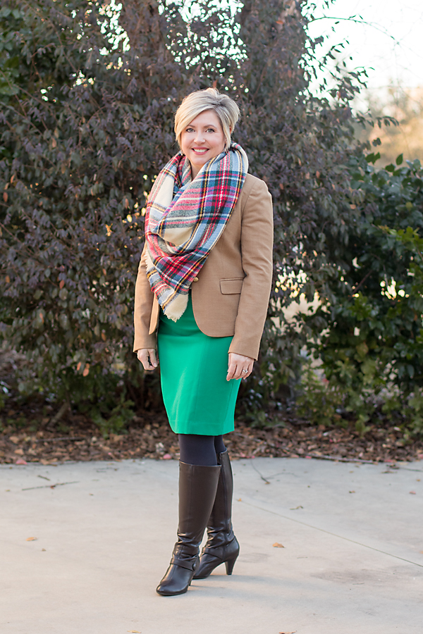 camel blazer, plaid blanket scarf, tall boots