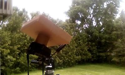 custom solar filter box on camera, from side