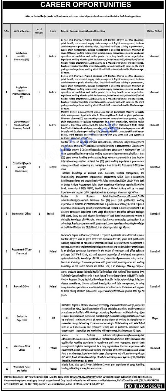 Latest Jobs in National TB Control Program NTP 2021