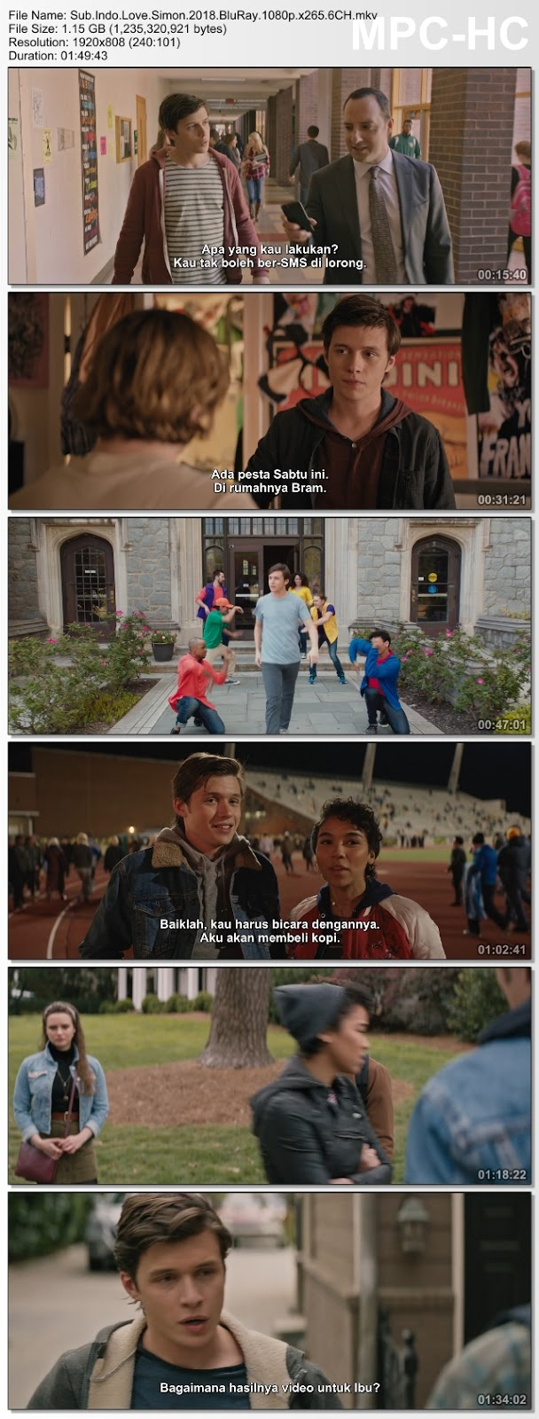 Screenshots Download Film Gratis Love Simon (2018) BluRay 480p MP4 Subtitle Bahasa Indonesia 3GP