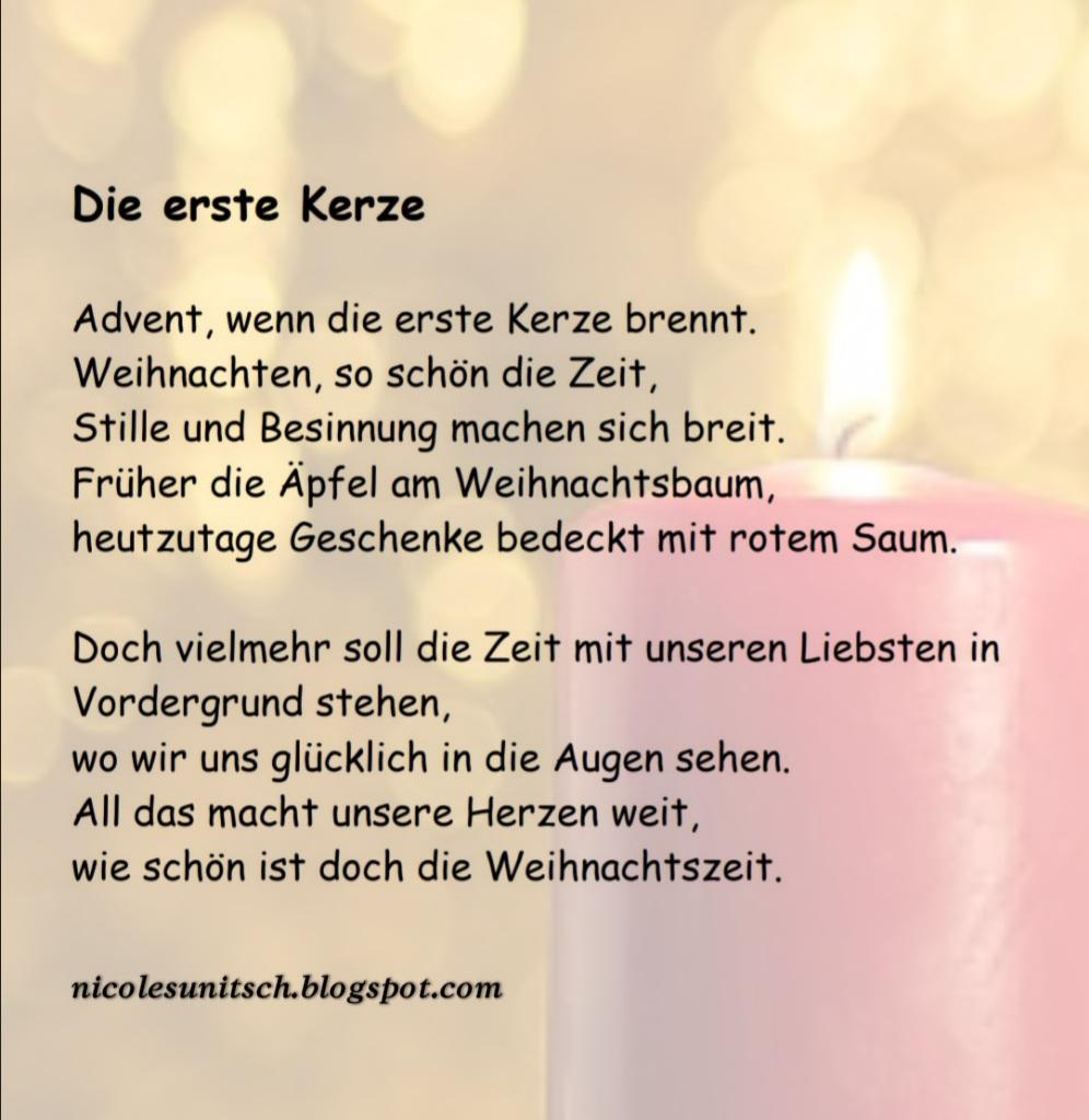 Gedichte Von Nicole Sunitsch Autorin Die Erste Kerze Gedicht