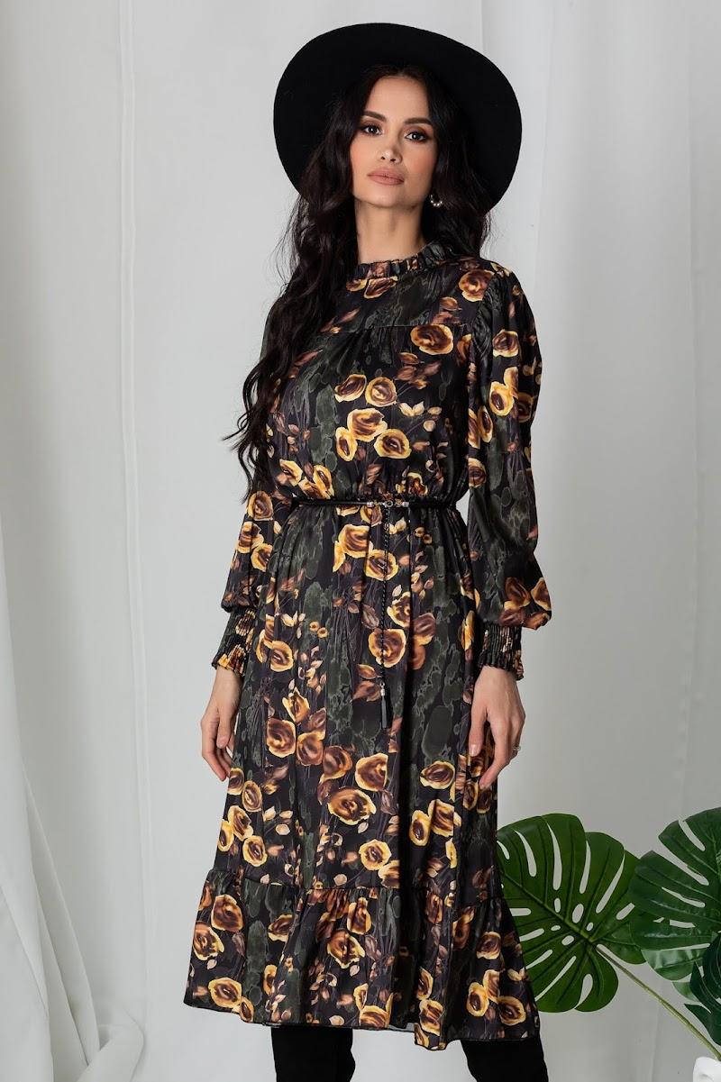 Rochie Lia kaki cu imprimeuri florale galbene, imbracate la moda