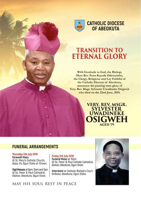 Catholic High Priest Reverend Father Osigwe passes on
