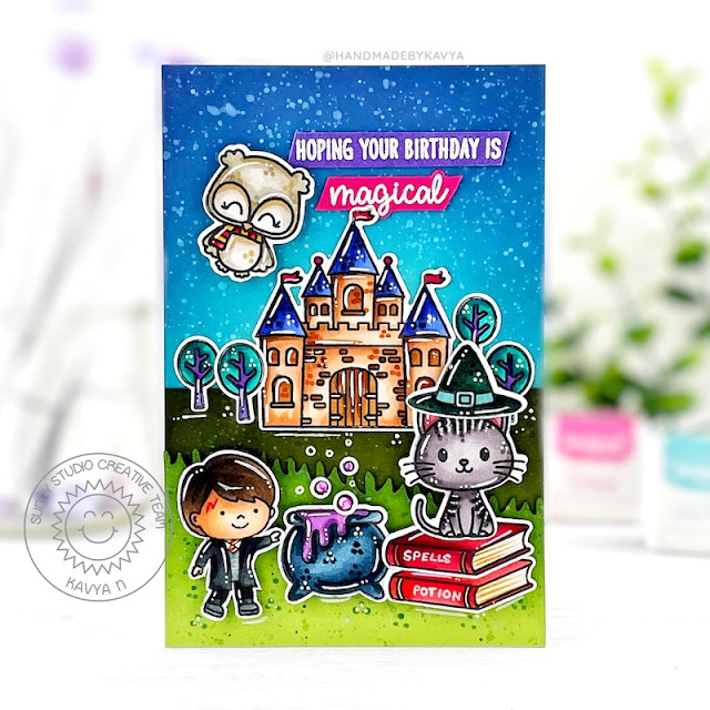 Sunny Studio Stamps: Bewitching Enchanted Slimline Dies Card by Kavya