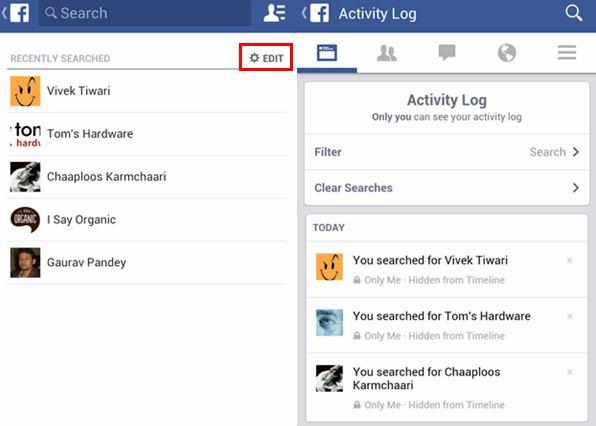 cara hapus riwayat pencarian di FB