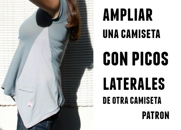camiseta con picos laterales, costura, labores, bricomoda
