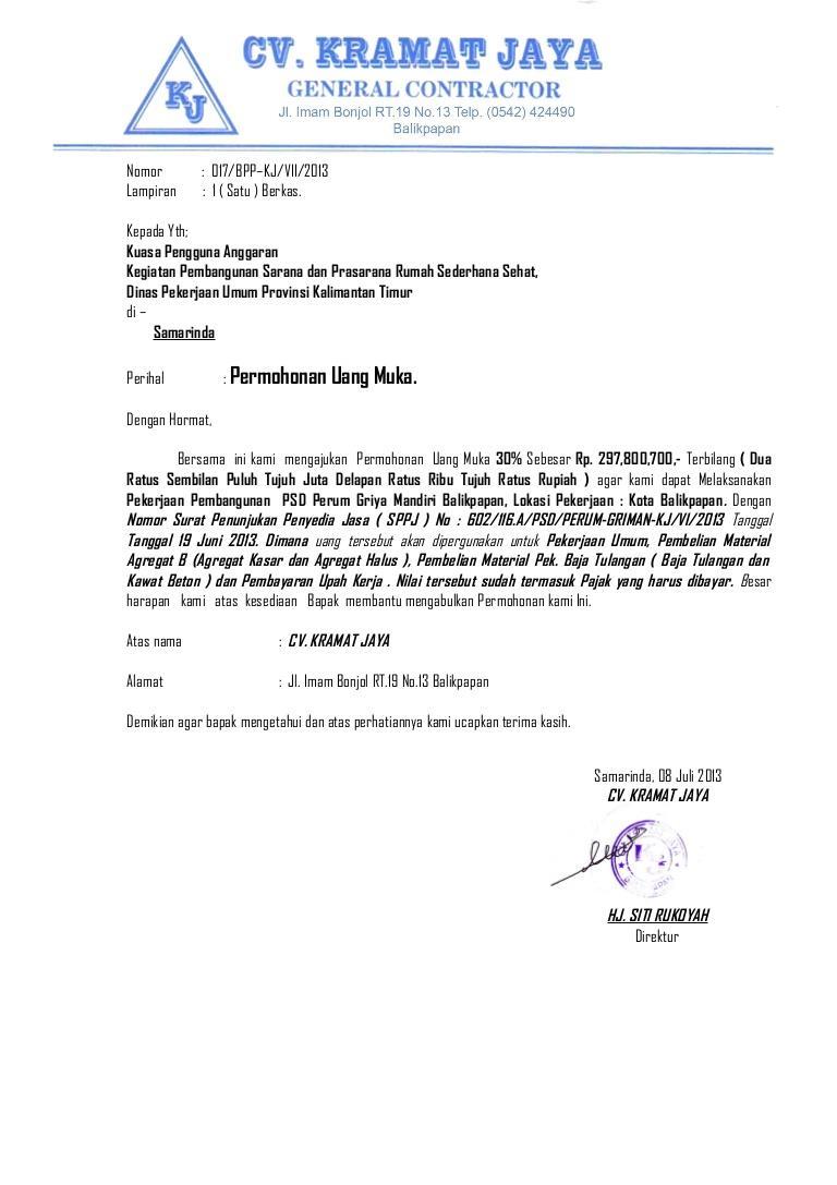 contoh surat penagihan pembayaran proyek