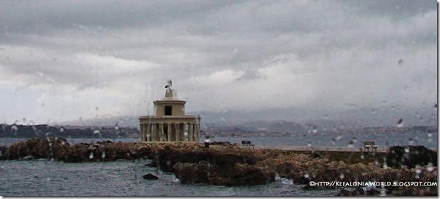 Argostoli lighthouse on a rainy day