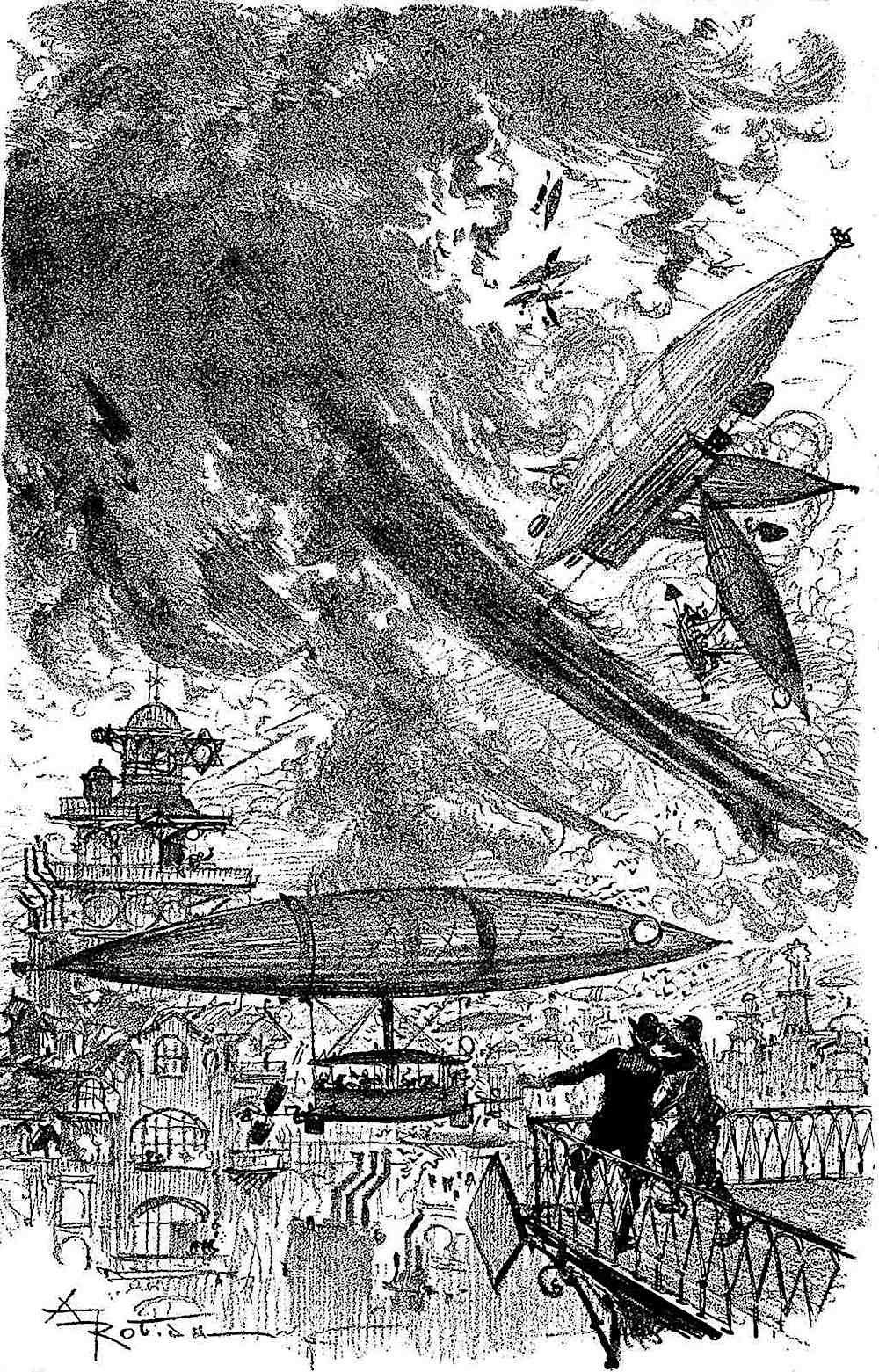 Albert Robida 1883 air traffic, retrofuture