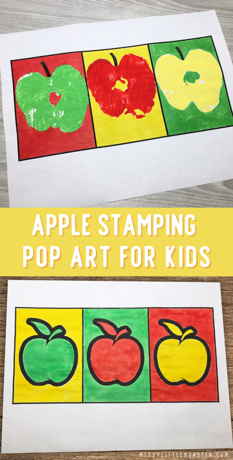 Apple stamping pop art for kids inspired by Andy Warhol. An easy apple craft for a fall theme.