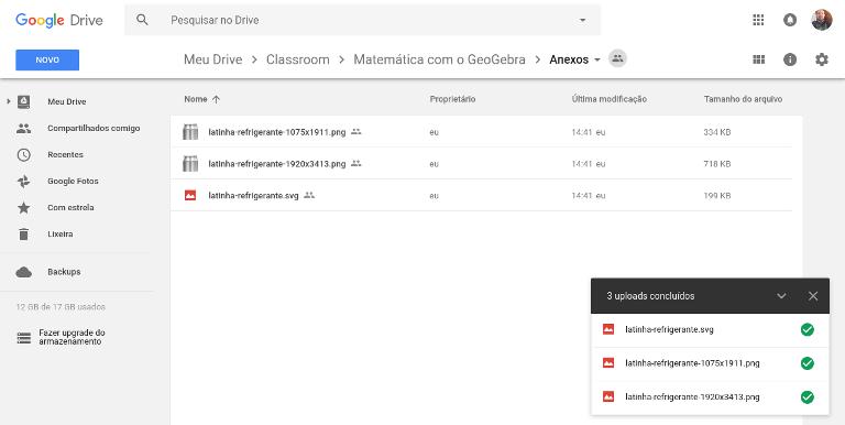 Anexar arquivos no Google Drive