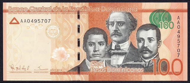 Dominican Republic currency 100 Pesos Dominicanos banknote 2014 Juan Pablo Duarte, Francisco del Rosario Sanchez, Matias Ramon Mella