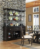 Open shelves black dining room hutch
