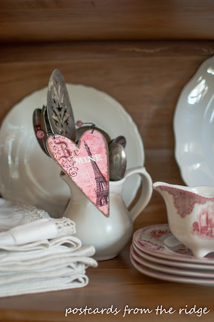 Simple valentine's decor with vintage ironstone, silver, transferware, and linens