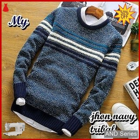 AND408 Sweater Pria John Tribal Biru Navy BMGShop