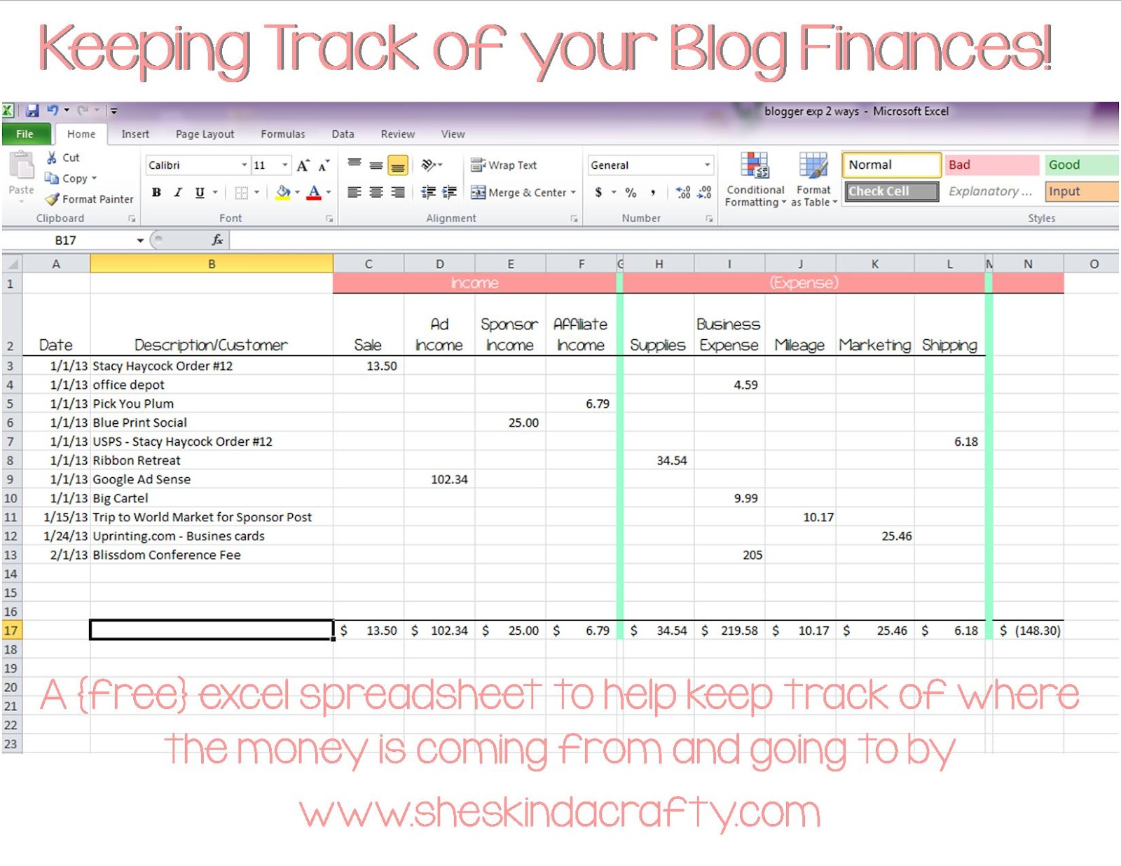 Keep On Track Blogging Income And Expense Spreadsheet