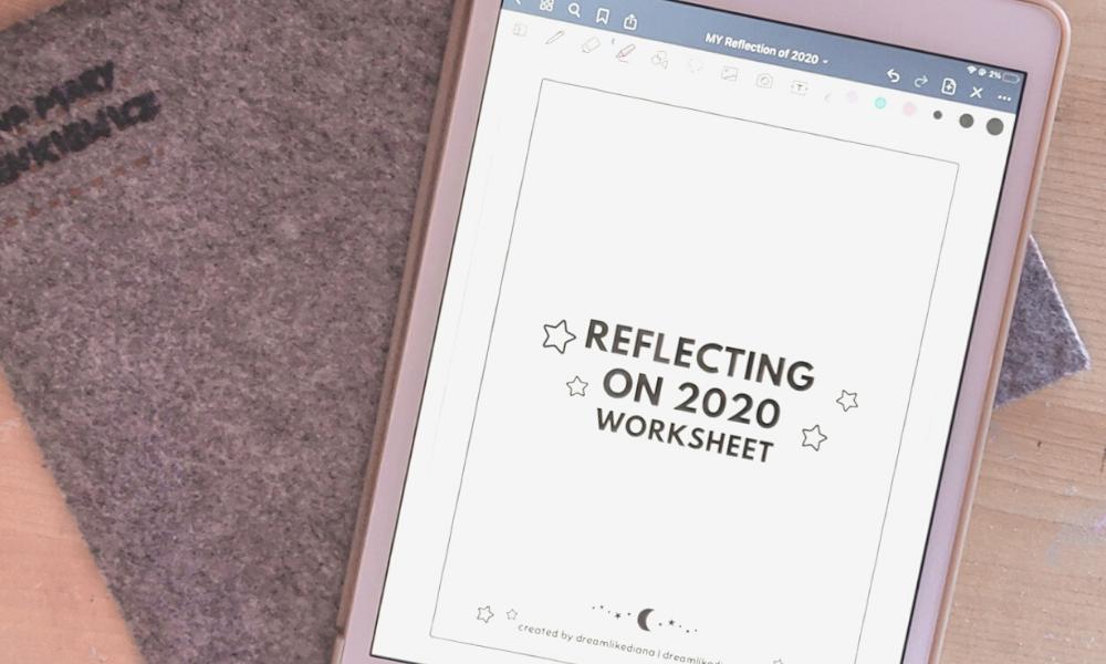 reflecting on 2020 worksheet goodnotes digital header image