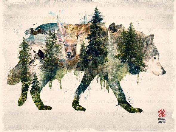 Barrett Biggers artstation behance arte foto-manipulações digitais dupla exposição photoshop ilustrações surreais natureza animais macabro