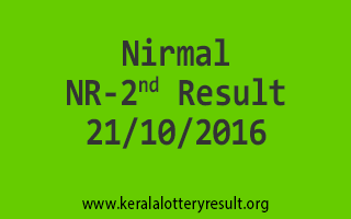 NIRMAL NR 2 Lottery Results 21-10-2016
