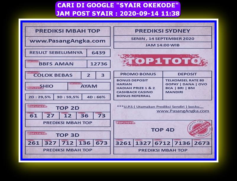 Kode syair Sydney Senin 14 September 2020 93