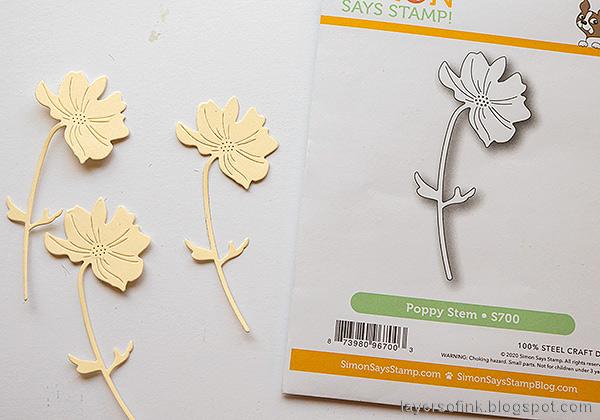 Layers of ink - Inky Sunshine Poppy card by Anna-Karin Evaldsson.  Die cut poppy stem.
