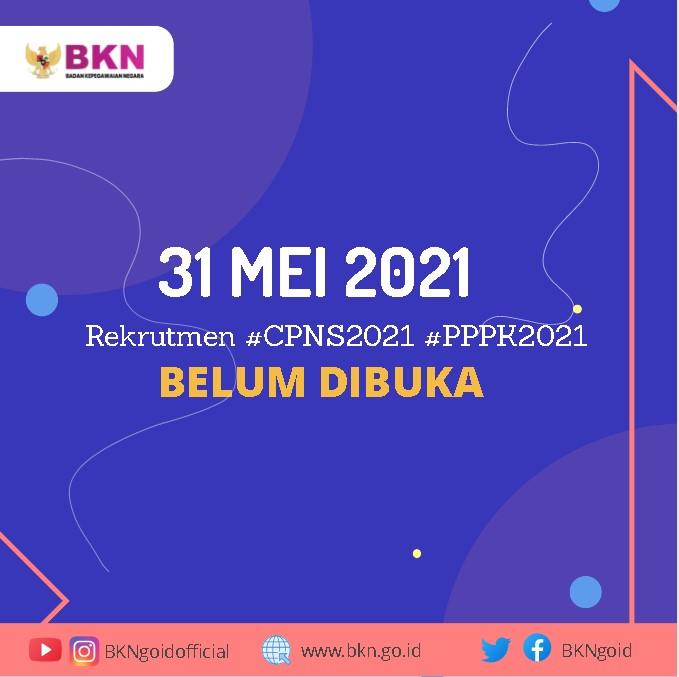 Pendaftaran CPNS dan PPPK Belum Dibuka Tanggal 31 Mei 2021