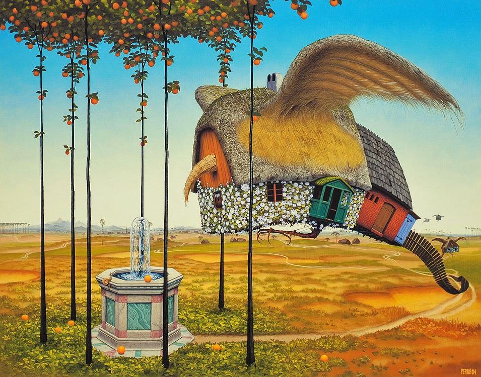 Casa na Fonte - Jacek Yerka e seu surrealismo fantástico ~ Polonês