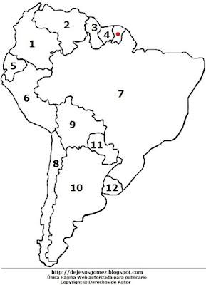 Dibujo del mapa de América del Sur enumerados para colorear o pintar. Dibujo de mapa de Jesus Gómez