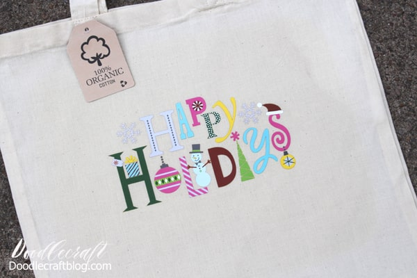Happy Holidays Iron On Design Tote for Christmas in July!