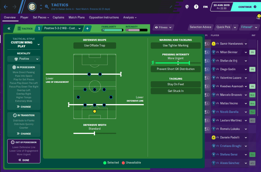 FM20 Inter Tactic Out of Possession