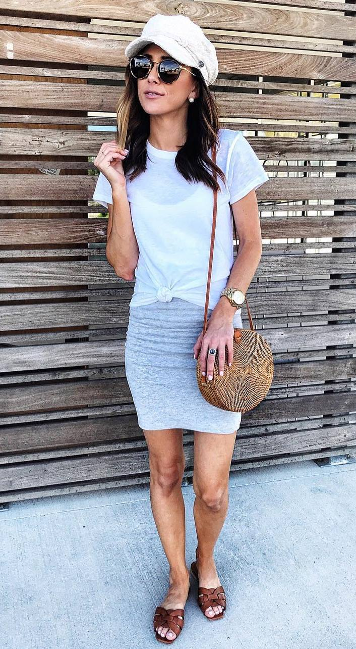 how to style a round straw bag : hat + bodycon dress + slides + white top