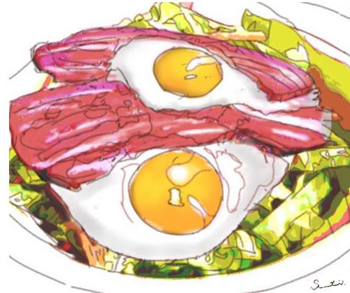 ベーコンエッグサラダのイラストです