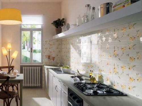 Desain Dapur Kecil Minimalis tema bunga yang indah