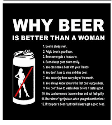 A beer is very often more enjoyable than sex ...