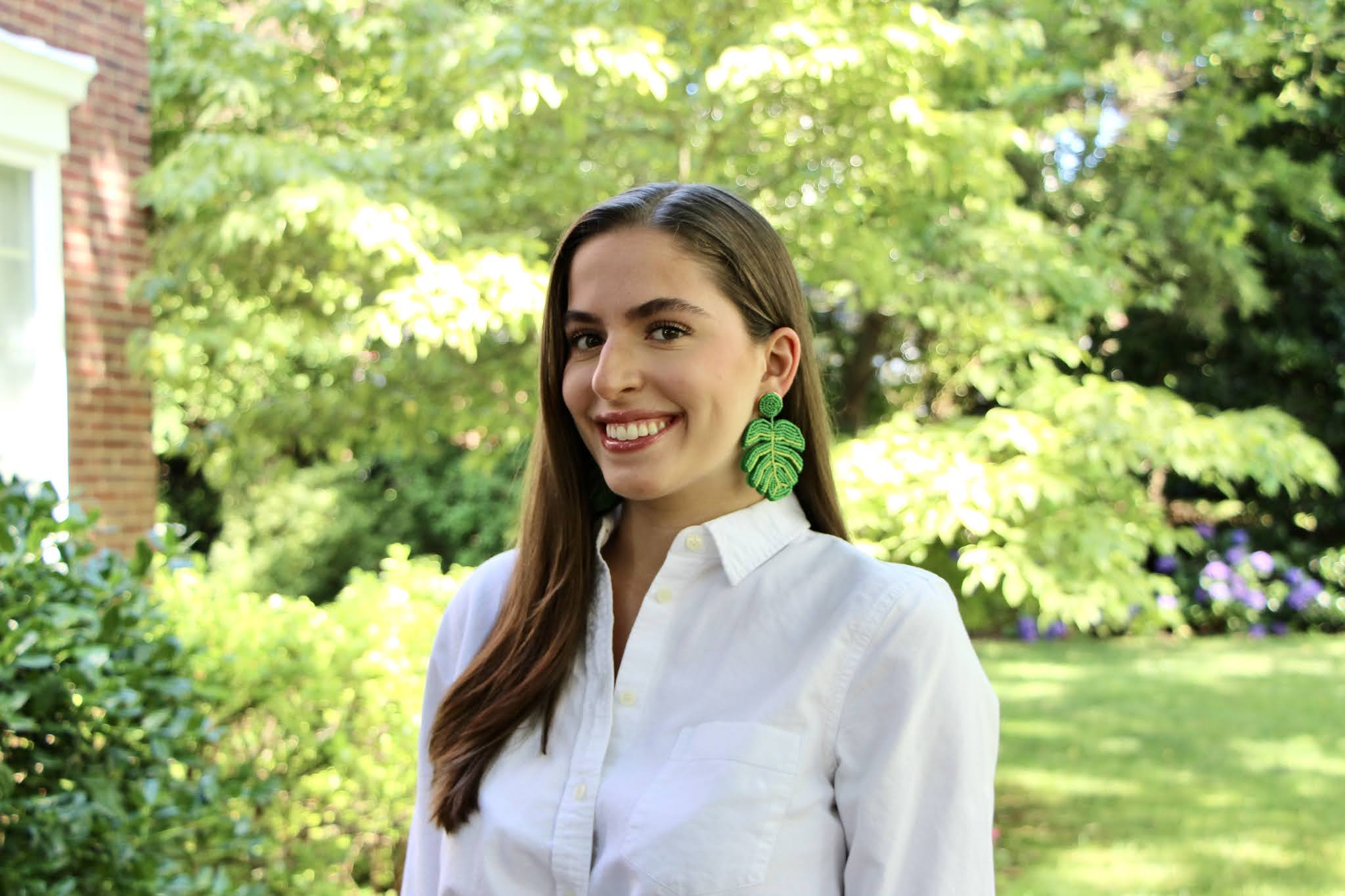 palm frond earrings, statement earrings, white button down