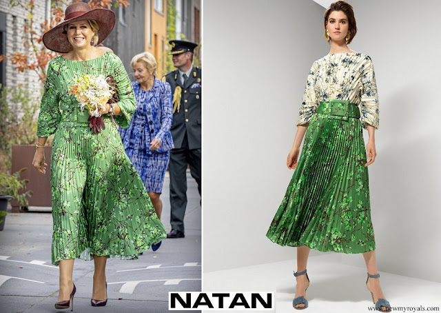 Queen Maxima wore NATAN floral printed pleated twill blouse and floral printed pleated twill skirt