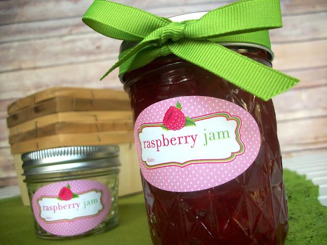 Cute Raspberry Jam oval canning jar labels
