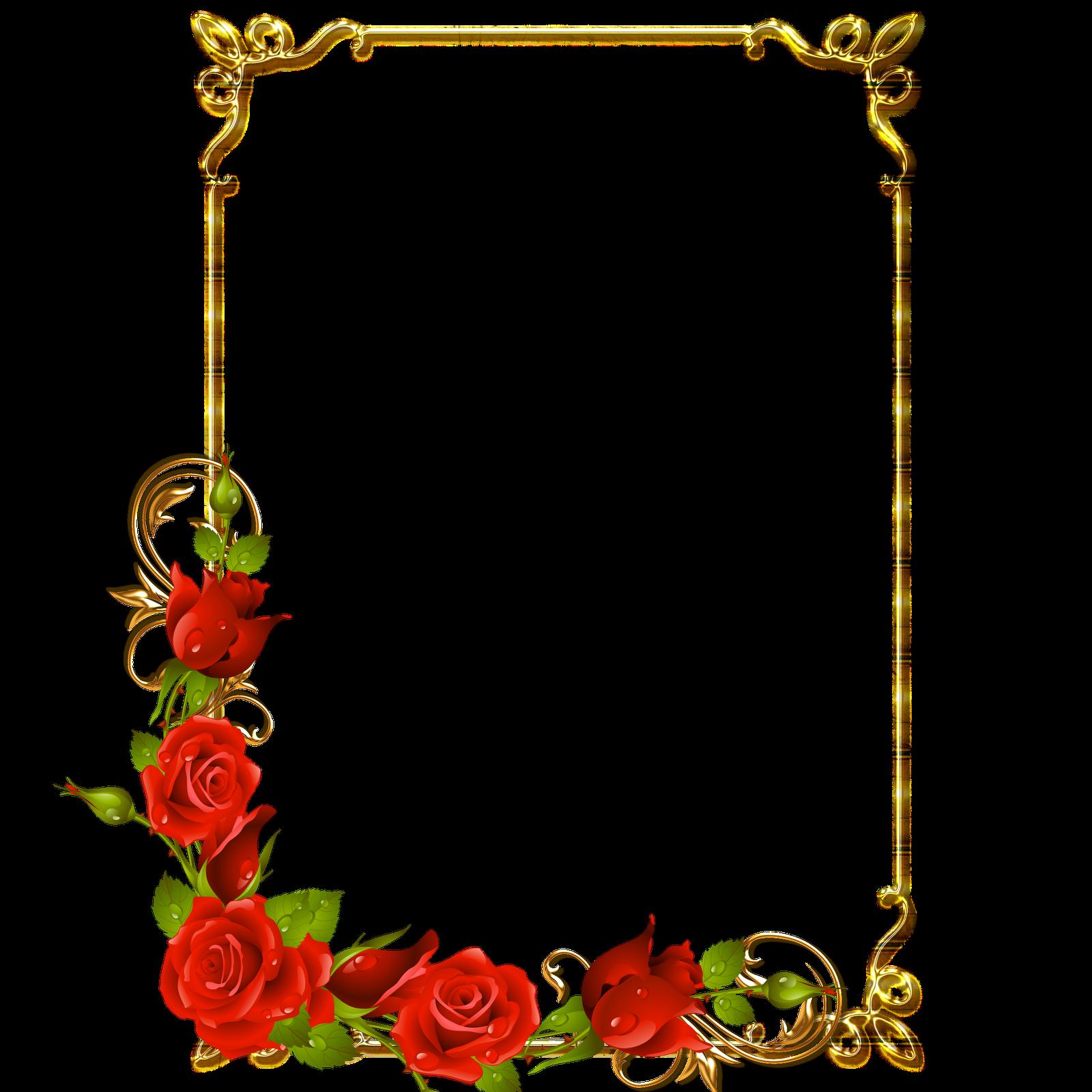 Frames PNG douradas com rosa vermelhas | Imagens Png fundo ...